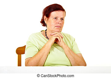 pensive old woman