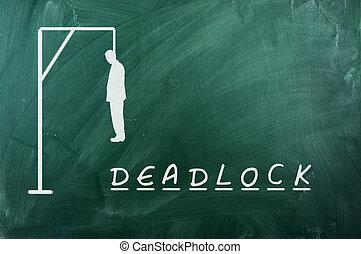 deadlock - Hangman game on green chalkboard ,concept of...