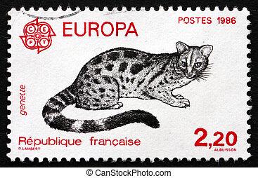 Postage stamp France 1986 Civet Cat, Viverridae - FRANCE -...