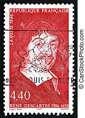 Postage stamp France 1996 Rene Descartes, Philosopher -...