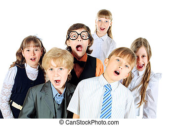 group song - Group of children singing in the school choir....