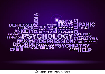 psychology word cloud on dark purple background