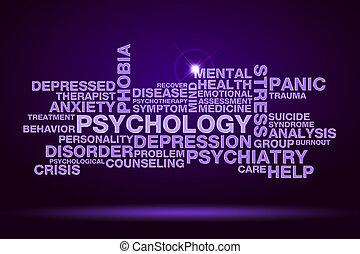 psicología, palabra, nube