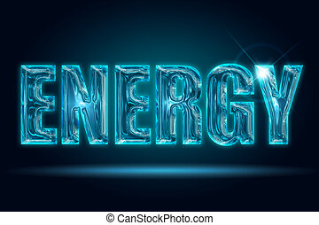 transparent energy - shiny energy word isolated on a black...