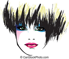 face - portrait of a pretty girl with a stylish haircut