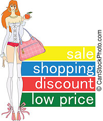 low prices - slim girl with a bag to make purchases