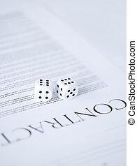 kontrakt, papier, hazard, gra w kości
