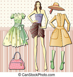 Paper doll with clothes - Doll - a fashionista. cloakroom....