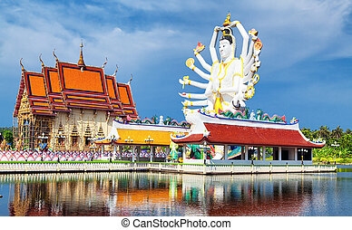 Thailand landmark in koh Samui, Shiva sculpture and Buddhist...