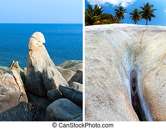 Hin Ta Hin Yai (grandpa and grandma) rock formations on Koh...