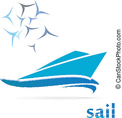 Yacht logo - Sailing yacht logo isolated on white background...
