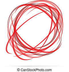 Red circles - Abstract energy vector logo