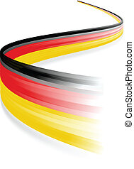 German flag - Abstract German waving flag isolated on white...