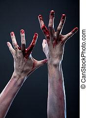 sangriento, zombi, Manos