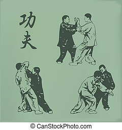 Kung fu - vintage illustration of men involved in kung fu