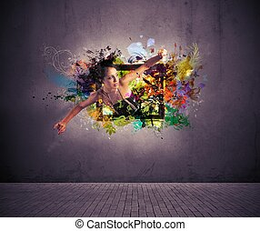 Creative fashion - Girl exit from a picture. Concept of...