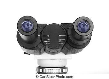 Ocular of microscope close-up isolated on white background