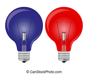 Red and blue lights bulb