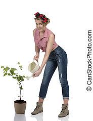 portrait of sexy female gardener - pretty blonde gardener...