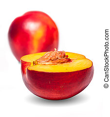 Nectarine - Fresh, juicy and tasty nectarine on white...