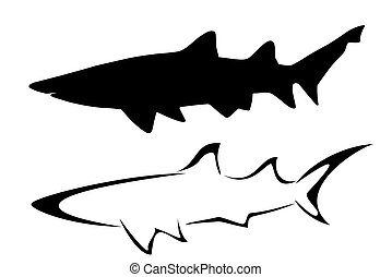 Sharks - Set of two tribal shark tattoos
