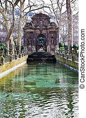 Medici Fountain in luxembourg garden in Paris