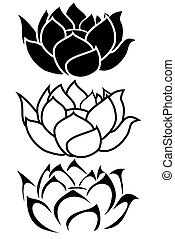 Lotus Flower - a lotus flower tribal tattoo set
