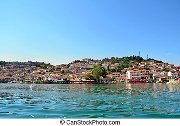 Ohrid, Macedonia - Ohrid lake and an old town of Ohrid in...
