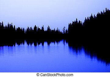 Mountain lake and pine trees