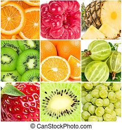 Collage of summer fruits