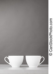 cup of coffee on gray background