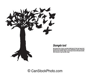 art tree with special butterflies for your website