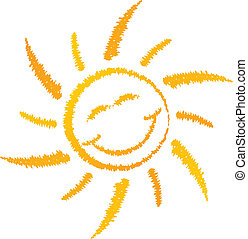 Smiling sun logo isolated on white background