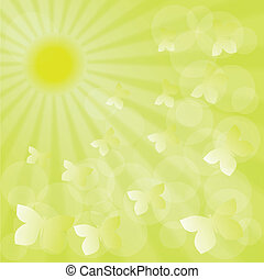 Spring sunshine green background with butterflies