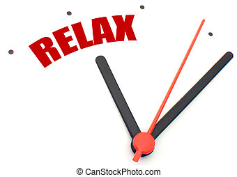 Time to relax - Clock hand pointing to the word relax
