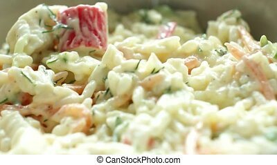 Crab Stick Salad with Sour Creme - Eating a fresh crabstick...