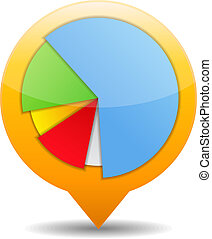 Pie chart icon, vector eps10 illustration