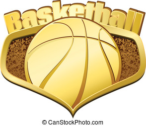 Gold Basketball Shield with Text - Vector illustration of a...
