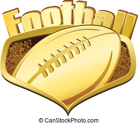 Gold Football Shield with Text - Vector illustration of a...