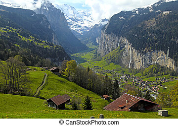 mountain village in the Alps, Switzerland . - Beautiful...