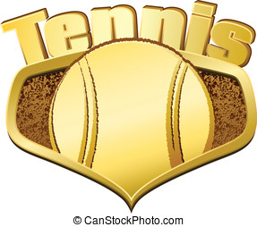 Gold Tennis Shield with Text