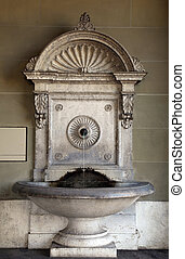 Old stone fountain in Bern, Switzerland. - Old ornate stone...