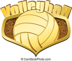 Gold Volleyball Shield with Text