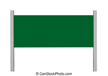Green metal sign board signage, isolated blank empty roadside