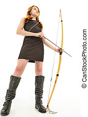 Tween Girl with Handmade Bow and Arrow Over White - Tween...