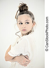 Lonely Sad Tween Girl Portrait Close up - Lonely Sad...