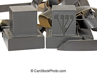 Tefillin isolated on a white background - Pair of black...