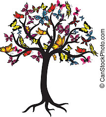 Butterfly Tree Vector Graphic
