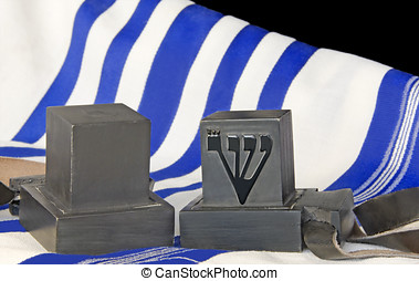 Tallit and tefillin - Pair of black boxes with leather...