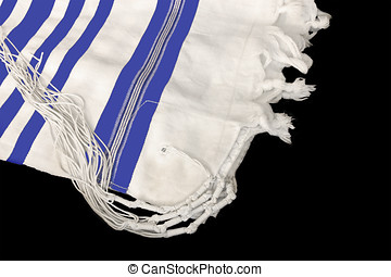 Tallit, Jewish prayer shawl - White wool cloth garment with...